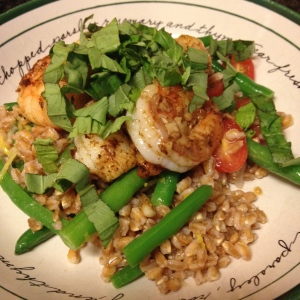 Shrimp and farro bowl.