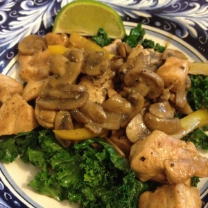 Chicken and kale.