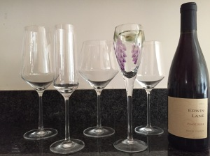Our Schott Zwiesel collection, from left: Cabernet, flute, Pinot Noir, tulip (not SZ), Sauvignon Blanc. Wine bottle for scale.