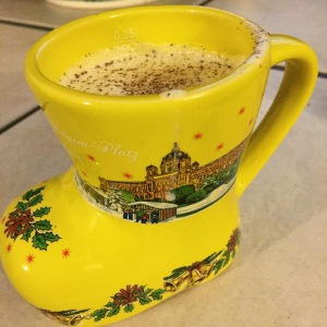 A festive boot mug