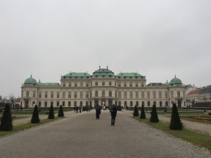 Approaching the Upper Belvedere through the gardens.