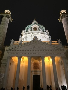 Karlskirche at night.
