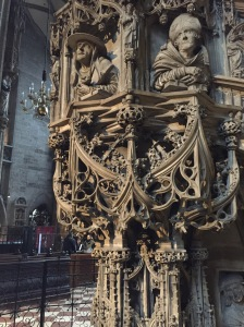 Amazing carved staircase inside Stephansdom.