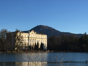 The lake and building used for exteriors of the Von Trapp family home